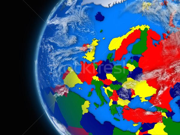 Continente politico mondo illustrazione atmosferico Foto d'archivio © Harlekino