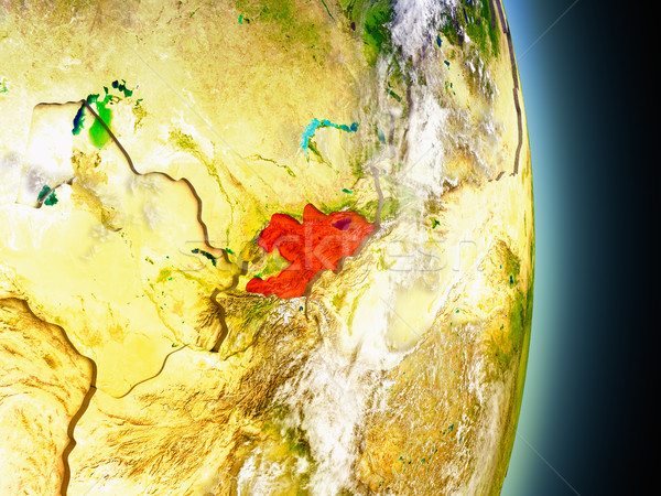 Kyrgyzstan in red from space Stock photo © Harlekino