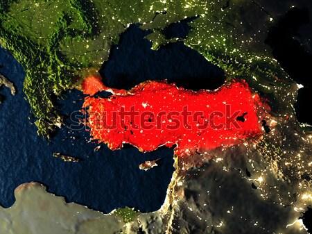 Georgia in red from space at night Stock photo © Harlekino