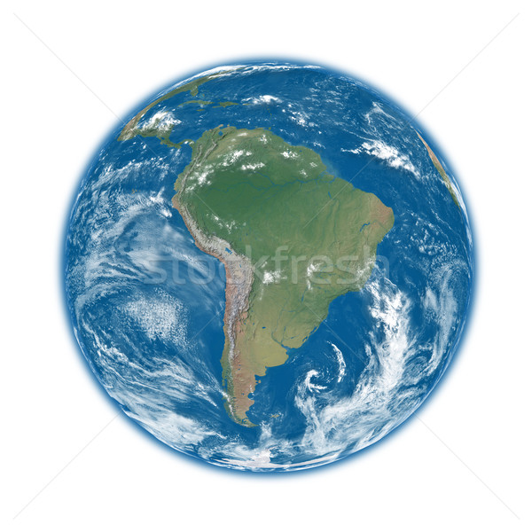 Sud america blu terra pianeta terra isolato bianco Foto d'archivio © Harlekino