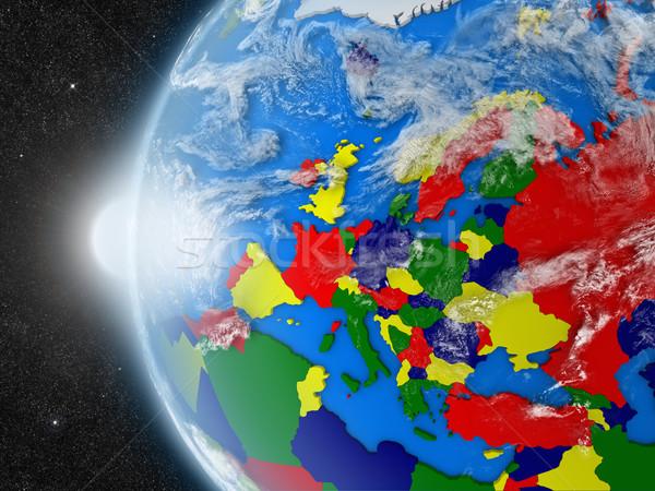 Európai földrész űr Föld politikai keretek Stock fotó © Harlekino