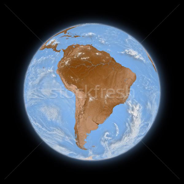 Ameryka południowa planety Ziemi niebieski odizolowany czarny wysoko Zdjęcia stock © Harlekino