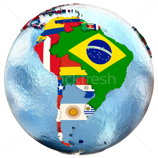 политический Южной Америке карта стране флаг изолированный Сток-фото © Harlekino
