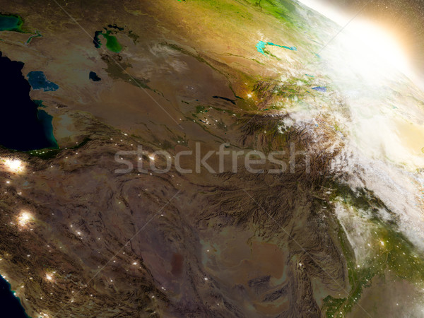 Merkezi Asya uzay gündoğumu bölge yörünge Stok fotoğraf © Harlekino