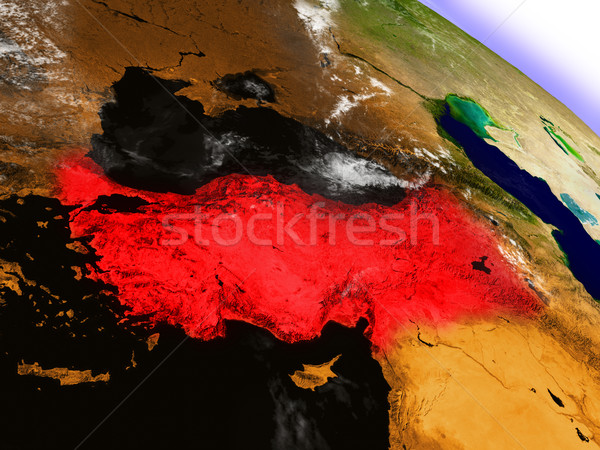 Turkey from space highlighted in red Stock photo © Harlekino
