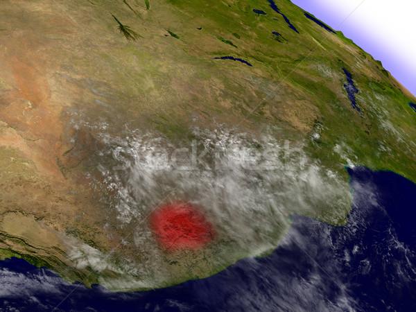 Lesotho przestrzeni czerwony orbita 3d ilustracji wysoko Zdjęcia stock © Harlekino