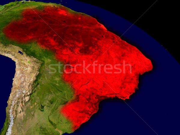 Brezilya uzay kırmızı 3d illustration ayrıntılı Stok fotoğraf © Harlekino
