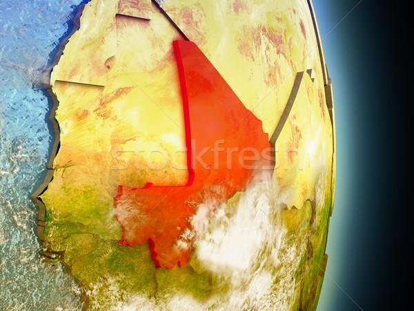 Mali in red from space Stock photo © Harlekino