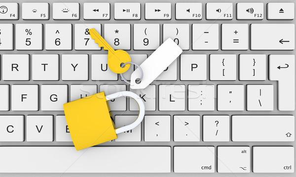 Foto d'archivio: Computer · sicurezza · illustrazione · 3d · chiave · vuota