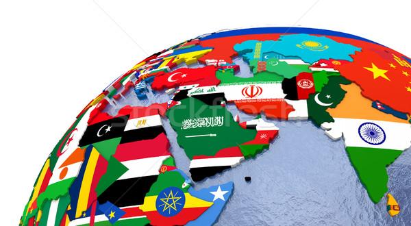 Politikai Közel-Kelet térkép vidék világ Föld Stock fotó © Harlekino