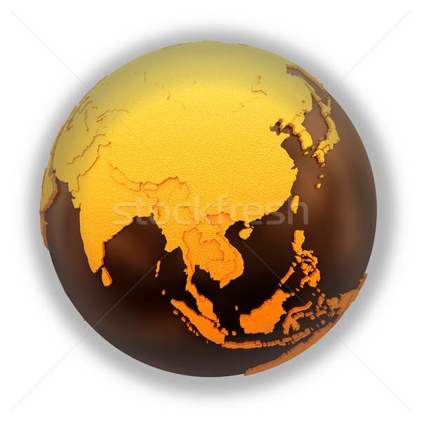 Güneydoğu asya çikolata toprak model dünya gezegeni tatlı Stok fotoğraf © Harlekino