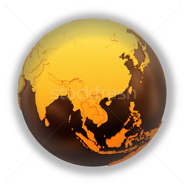 Southeast Asia on chocolate Earth Stock photo © Harlekino