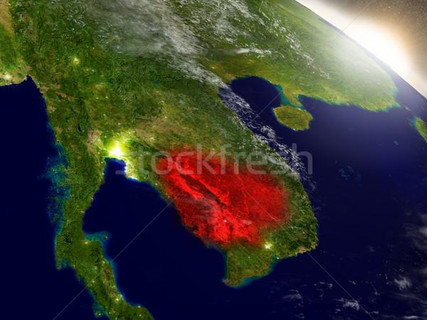 Cambodja ruimte Rood 3d illustration Stockfoto © Harlekino