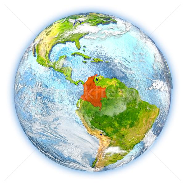 Colombia Föld izolált piros Föld 3d illusztráció Stock fotó © Harlekino