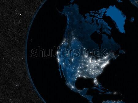 Gece kuzey Amerika şehir ışıkları uzay elemanları Stok fotoğraf © Harlekino