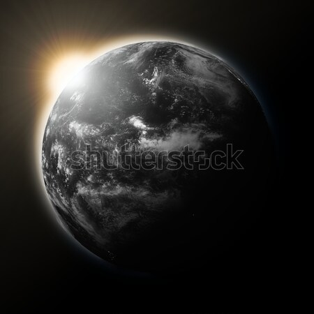 Sun over Pacific Ocean on dark planet Earth Stock photo © Harlekino