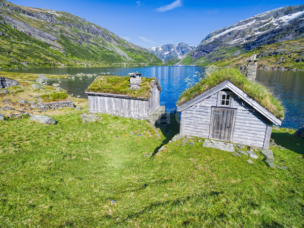 Norwegian huts Stock photo © Harlekino