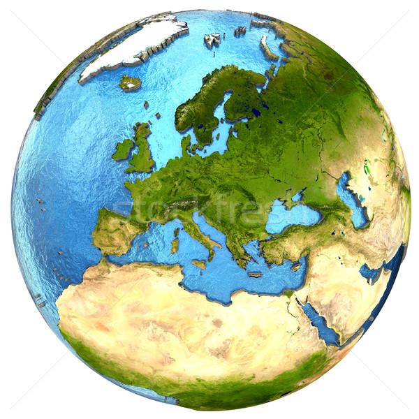 Avrupa kıta toprak Avrupa ayrıntılı model Stok fotoğraf © Harlekino