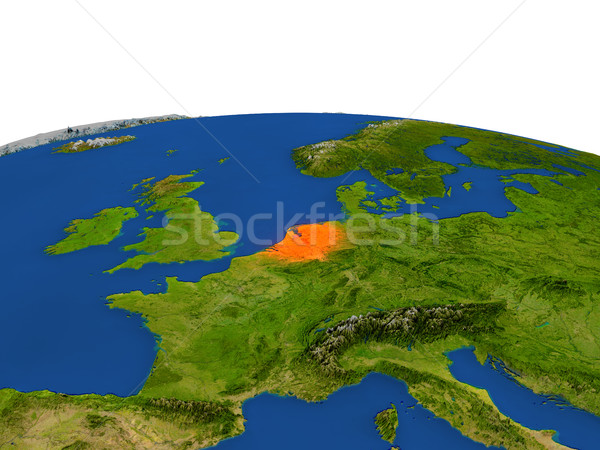 Netherlands in red from orbit Stock photo © Harlekino
