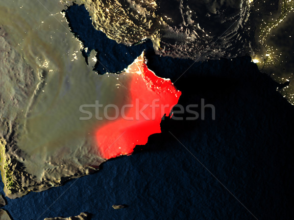 Oman in red from space at night Stock photo © Harlekino