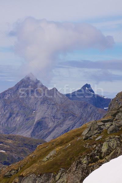 Norueguês paisagem típico forte montanha azul Foto stock © Harlekino