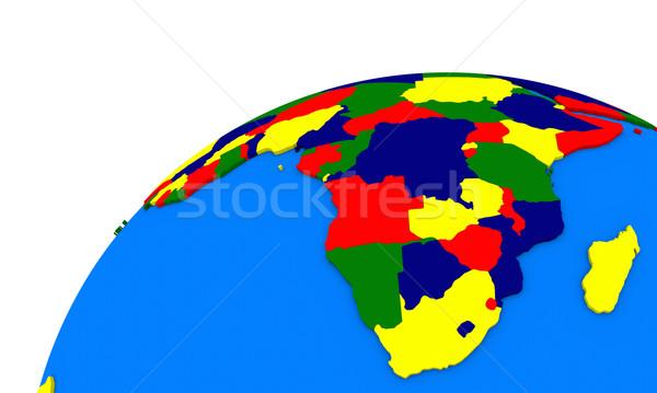 Dél-Afrika Föld politikai térkép földgömb afrikai Stock fotó © Harlekino
