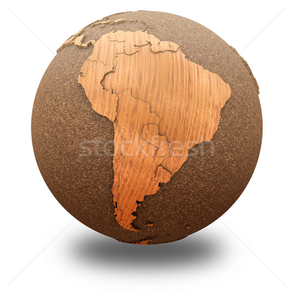 South America on wooden planet Earth Stock photo © Harlekino