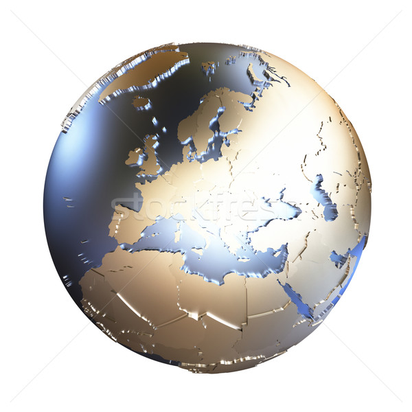 Europe on golden metallic Earth Stock photo © Harlekino