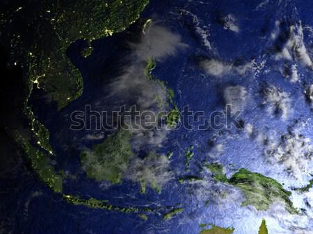Ecuador from space during sunrise Stock photo © Harlekino