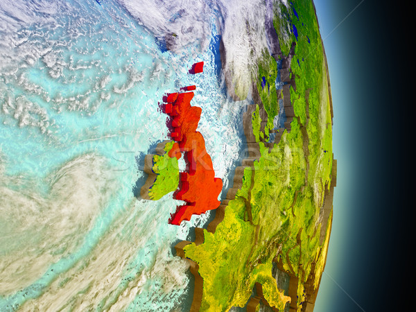 United Kingdom in red from space Stock photo © Harlekino