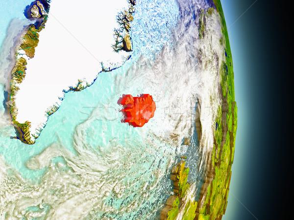 アイスランド 赤 スペース モデル 軌道 3次元の図 ストックフォト © Harlekino