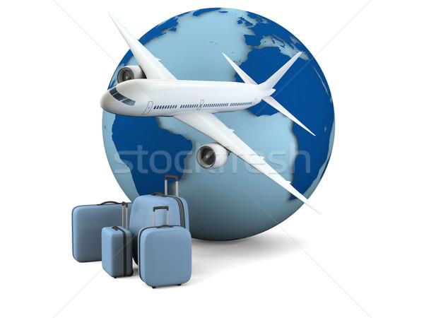 Воздушные путешествия модель земле самолет Камера изолированный Сток-фото © Harlekino
