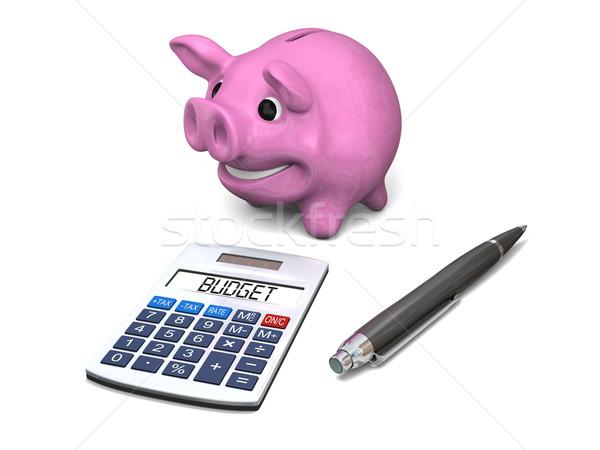 Költségvetés boldog rózsaszín persely toll számológép Stock fotó © Harlekino