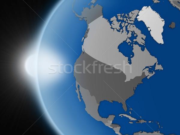 Zonsondergang noorden amerikaanse continent ruimte aarde Stockfoto © Harlekino