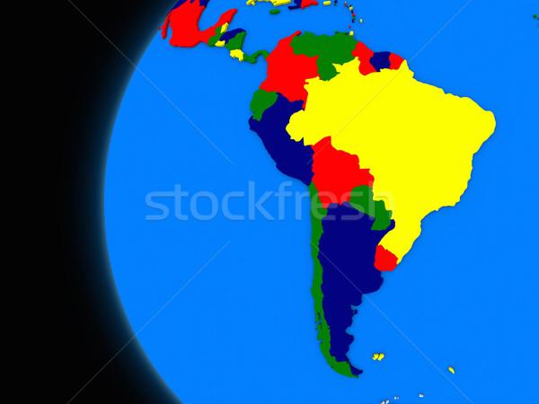 Dél-amerikai földrész politikai Föld illusztráció földgömb Stock fotó © Harlekino