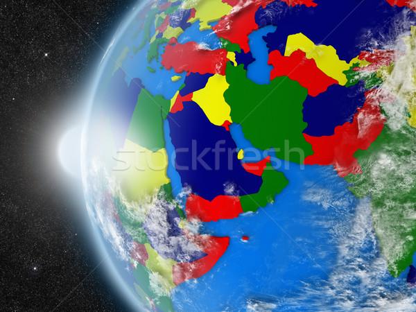 Közel-Kelet régió űr Föld politikai keretek Stock fotó © Harlekino