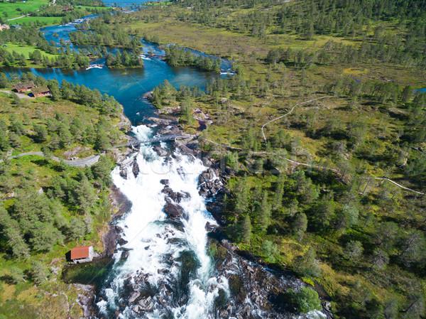 Stockfoto: Waterval · Noorwegen · luchtfoto · watervallen · populair · toeristische · attractie