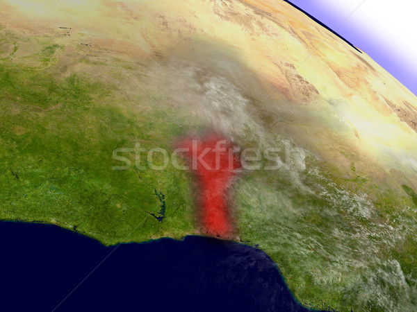 Benin from space highlighted in red Stock photo © Harlekino