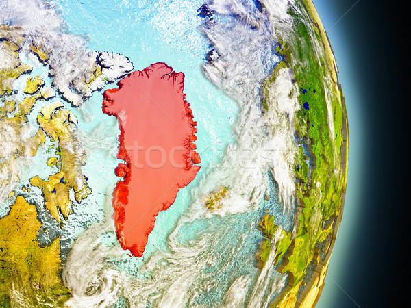 Greenland in red from space Stock photo © Harlekino