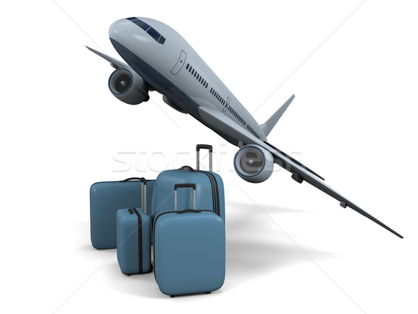 Flugreisen 3D Modell unter Flugzeuge Gepäck Stock foto © Harlekino