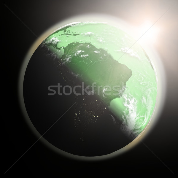 Sunrise over South America Stock photo © Harlekino