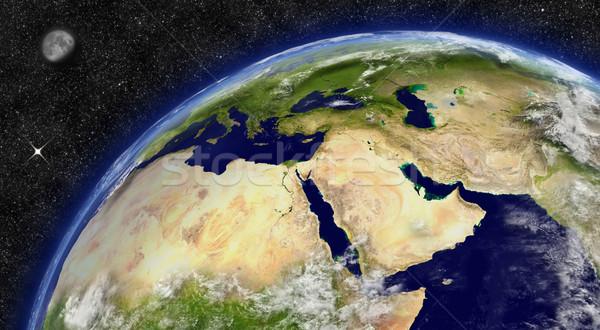 Közel-Kelet Föld régió űr hold csillagok Stock fotó © Harlekino