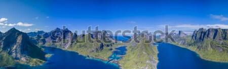 Сток-фото: антенна · Панорама · Норвегия · пейзаж · морем
