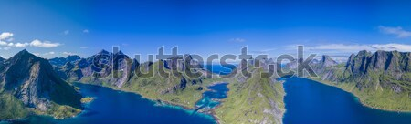 Aerial Lofoten fjord Stock photo © Harlekino