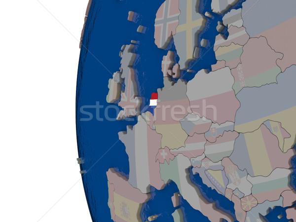 オランダ フラグ 地図 3次元の図 バナー オランダ ストックフォト © Harlekino