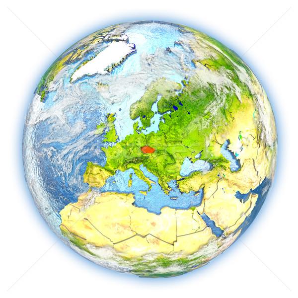 Çek Cumhuriyeti toprak yalıtılmış kırmızı dünya gezegeni 3d illustration Stok fotoğraf © Harlekino