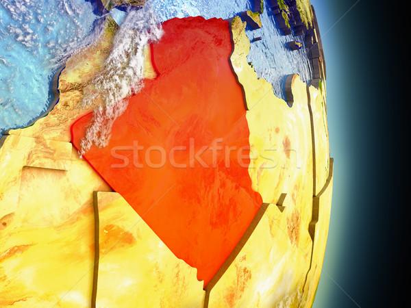 Algieria czerwony przestrzeni model orbita 3d ilustracji Zdjęcia stock © Harlekino