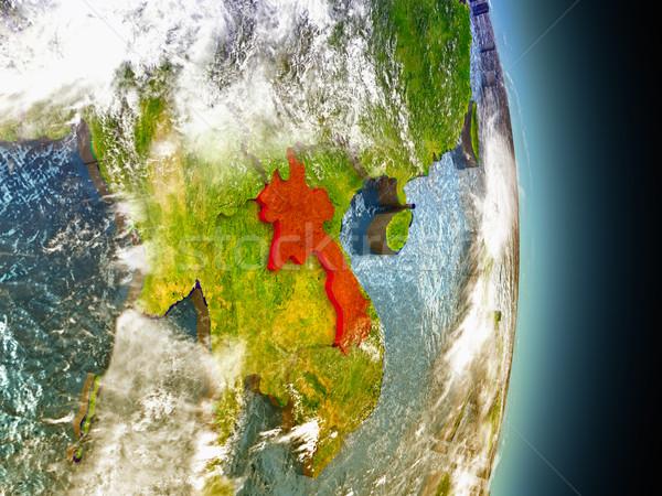 Laos czerwony przestrzeni model orbita 3d ilustracji Zdjęcia stock © Harlekino