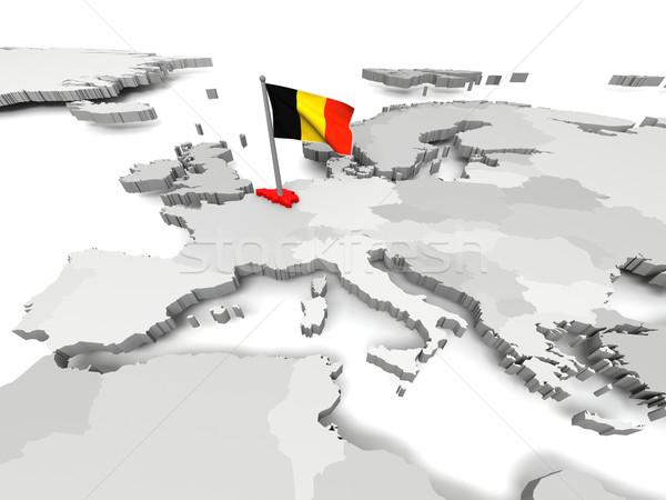 Bélgica mapa Europa bandera 3D elementos Foto stock © Harlekino