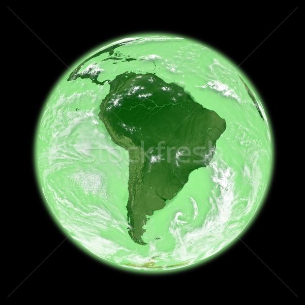 América del sur verde tierra planeta tierra aislado negro Foto stock © Harlekino